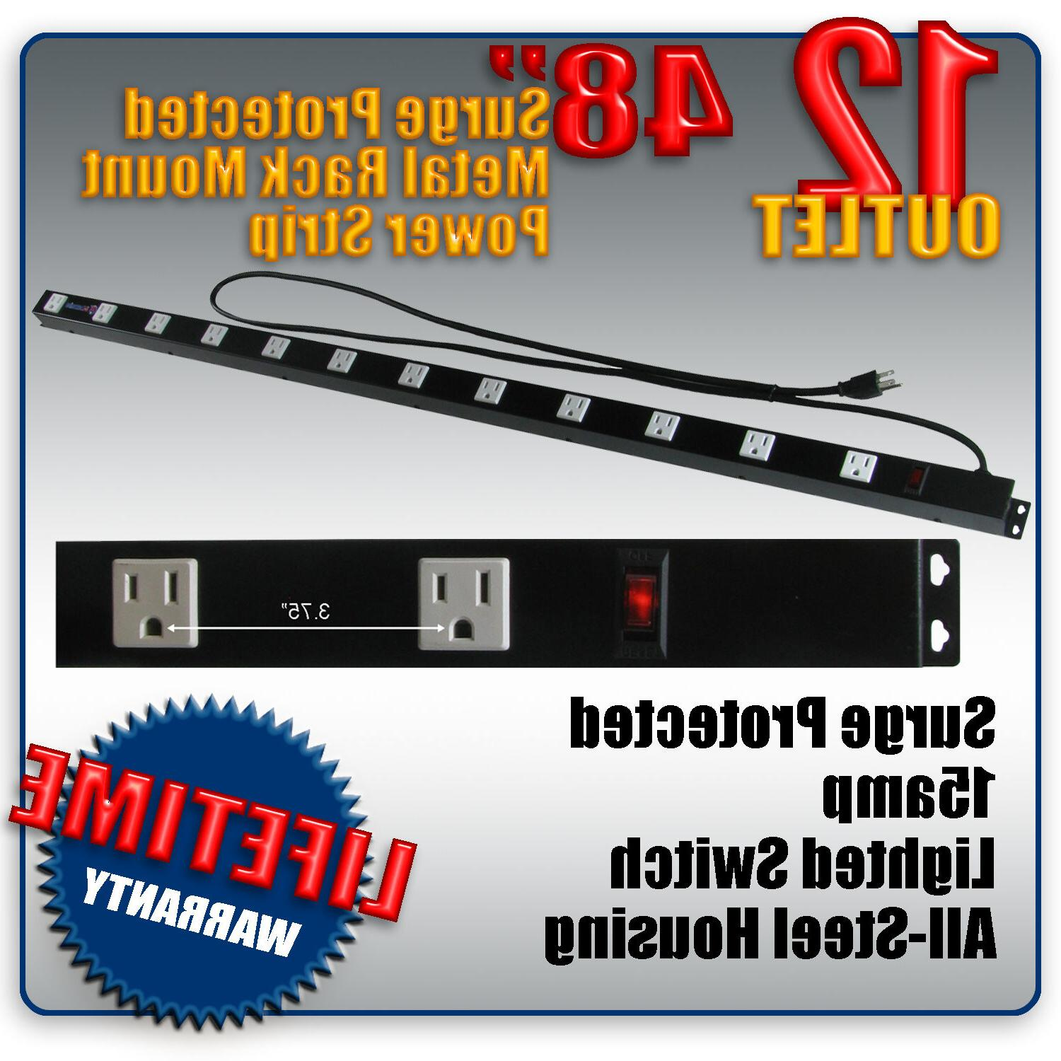 "48"" 12 Outlet Metal Rack Mount Strip Surge Lighted"