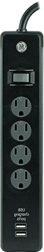 GE 13478 Surge Protector, 4 Outlet 450J 3' Cord 2USB Ports 1