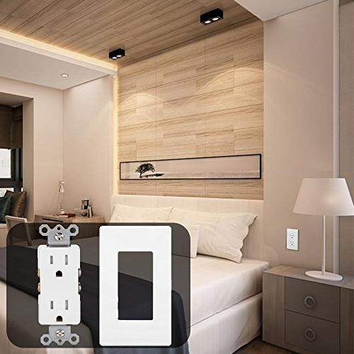 BESTTEN Resistant Decor Receptacle Standard Duplex Wall Decorative Screwless Wall Plates Included, Residential and Commercial Grade,