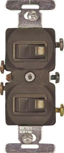NEW COOPER 271B BROWN DUPLEX GROUNDING TOGGLE LIGHT SWITCH 1