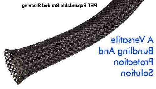 1/8 Inch PET Expandable Braided Sleeving- 10ft - Black by Te