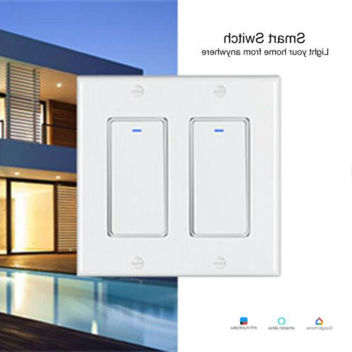 WIFI Smart Switch 2 Gang Wall Light Remote Switch For Alexa