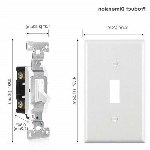 4PK Toggle Wall Plate ON/OFF 15A White