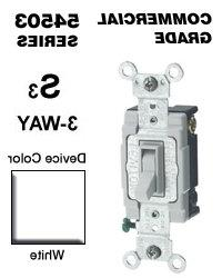 Leviton 54503-2W 15 Amp 3-Way Toggle Switch Commercial - Whi