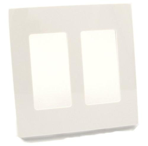 Leviton 80309-SW Wallplate 2-Gang Decora Screwless Standard