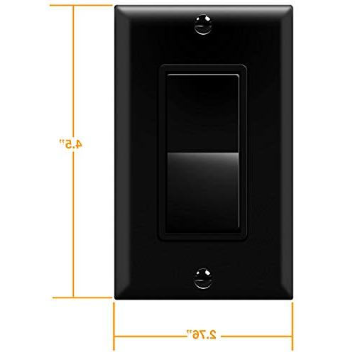 Enerlites Light Switch and Plate, Black