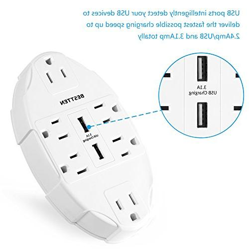 BESTTEN Outlet Tap Adapter with USB Charging Ports Surge Protector Splitter, ETL Listed,