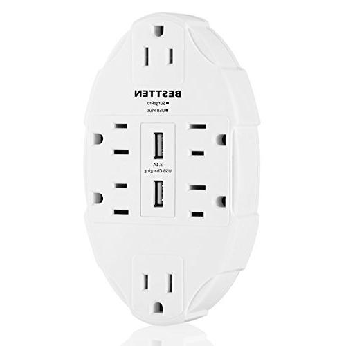 BESTTEN 6 Outlet Wall Tap Adapter with Dual USB Ports Surge Splitter,