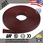 """100 FT 3/8"""" Black Red Expandable Wire Sleeving Sheathing Bra"""