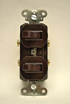 Brown Two Single Pole Toggle Switch 15A-120/277V Double Togg