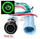BSF 16mm Green On Off LED 12V Latching Push Button Power Swi