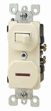 Leviton Combination Switch Single Pole 15 Amp 120 V Ivory Cs