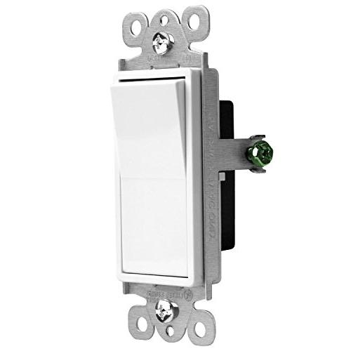 ENERLITES Light Switch, 15A Pole, Wire, Grounding Screw, UL Listed, White