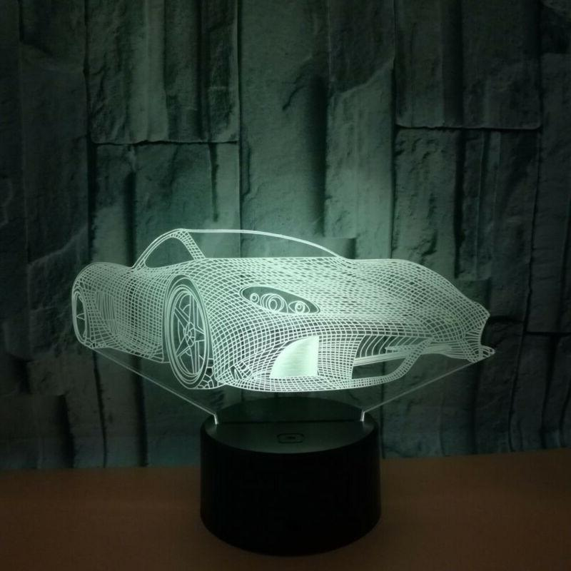 Delicate 3D Car USB LED Switch Night Lights Home Decor Kids