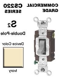 20 Amp Double-Pole Toggle Switch Commercial - Ivory