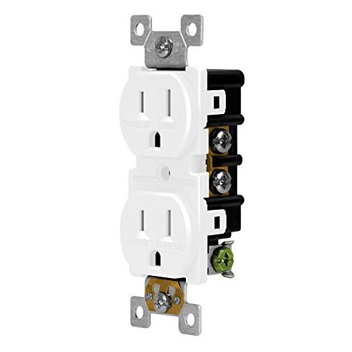 ENERLITES Tamper-Resistant Child Safe Duplex Receptacle Outlet, Grade, 3-Wire 2-Pole, 15A 125V, 61580-TR-W, White
