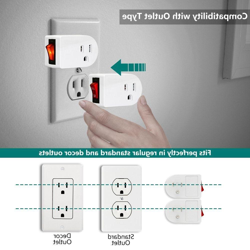 ETL Listed Grounded Outlet Adapter Red Power Set of 2