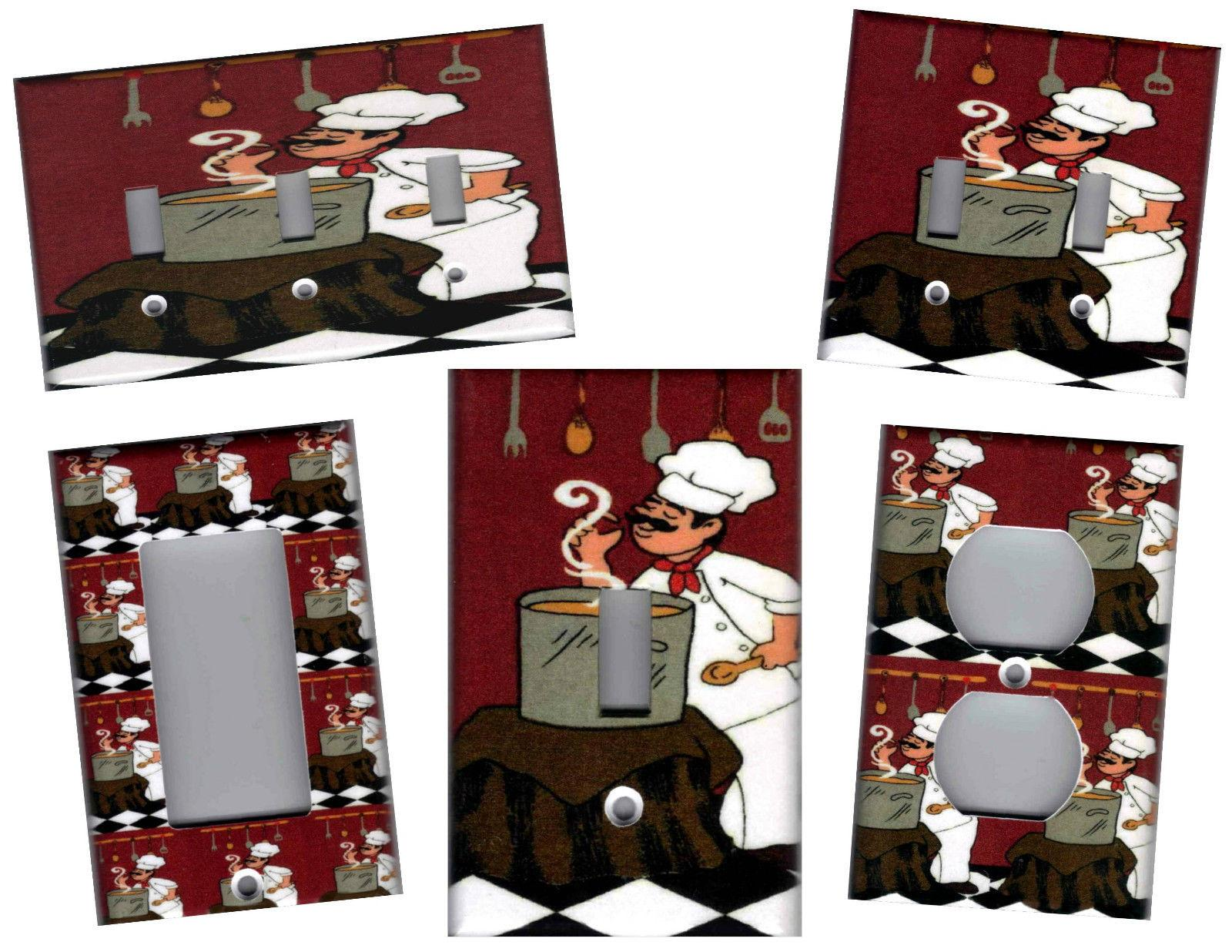 FAT CHEF WITH POT ON RED BURGUNDY KITCHEN HOME DECOR LIGHT S
