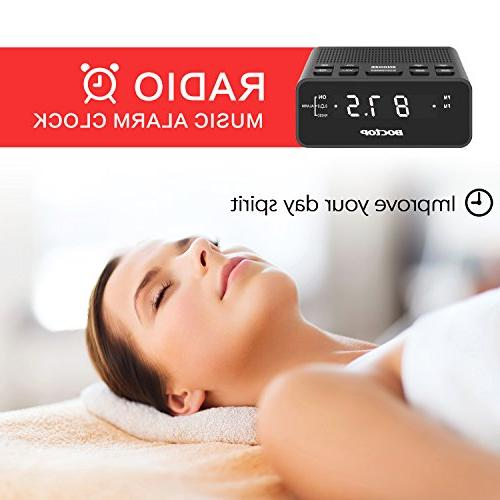 Boctop LED Alarm Clock Radio Timer FM Radio, USB Charger, for Bedrooms
