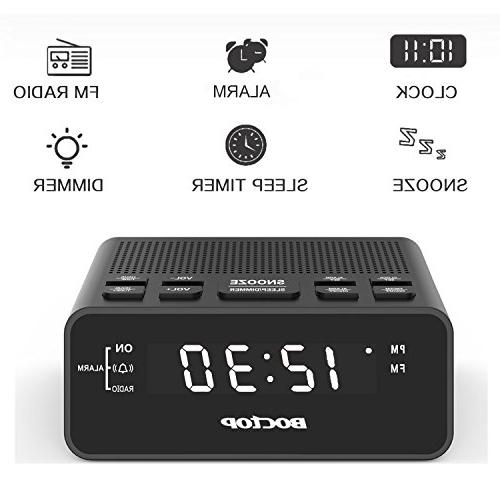 Boctop Clock Radio Timer USB Charger, Snooze for Bedrooms