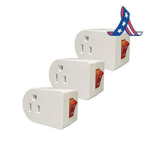 Oviitech Grounded Outlet Wall Tap Adapter With Red Indicator