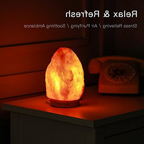 Amico Himalayan Salt Lamp,Hymilian Sea Switch,3 Listed,Hand Carved Night Lights with Base and Box