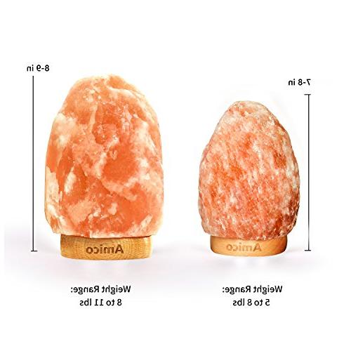 Amico Himalayan Sea Salt Lights with Switch,3 Bulbs,UL and Listed,Hand Crystal Night Wood Base