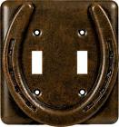HORSESHOE Metal Double Light Switch Plate Cover Country West
