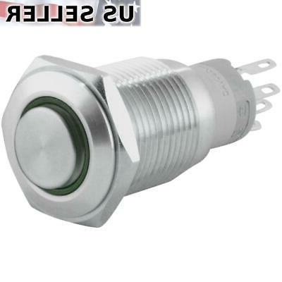 16mm 12V LED Latching Push Button Stainless Steel Power Swit