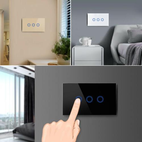 US 1 3 Gang Crystal Glass LED Smart Switch