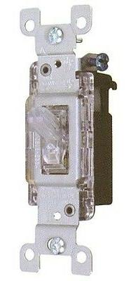 LIGHTED QUIET CLEAR WALL TOGGLE SWITCH 15A 120V SINGLE POLE
