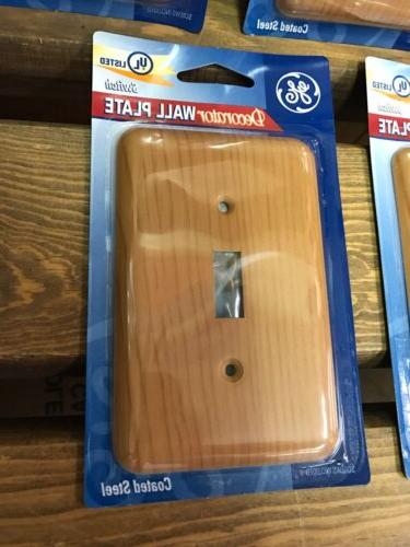 New GE Switch Wall Plate Coated Steel Wood Box of