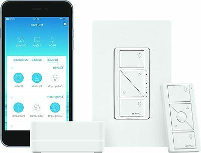 Lutron Caseta Wireless Smart Lighting Dimmer Switch Starter Kit,  P-BDG-PKG1W, Works with Alexa, Apple HomeKit, and the Google Assistant