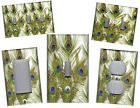 PEACOCK FEATHERS GREEN AND BLUE HOME WALL DECOR LIGHT SWITCH