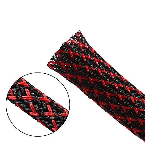 pet expandable braided sleeving blackred
