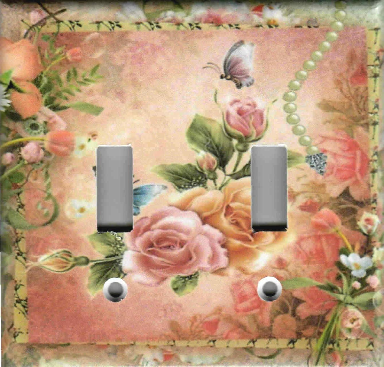 PINK SHABBY CHIC HOME DECOR LIGHT SWITCH AND OUTLETS