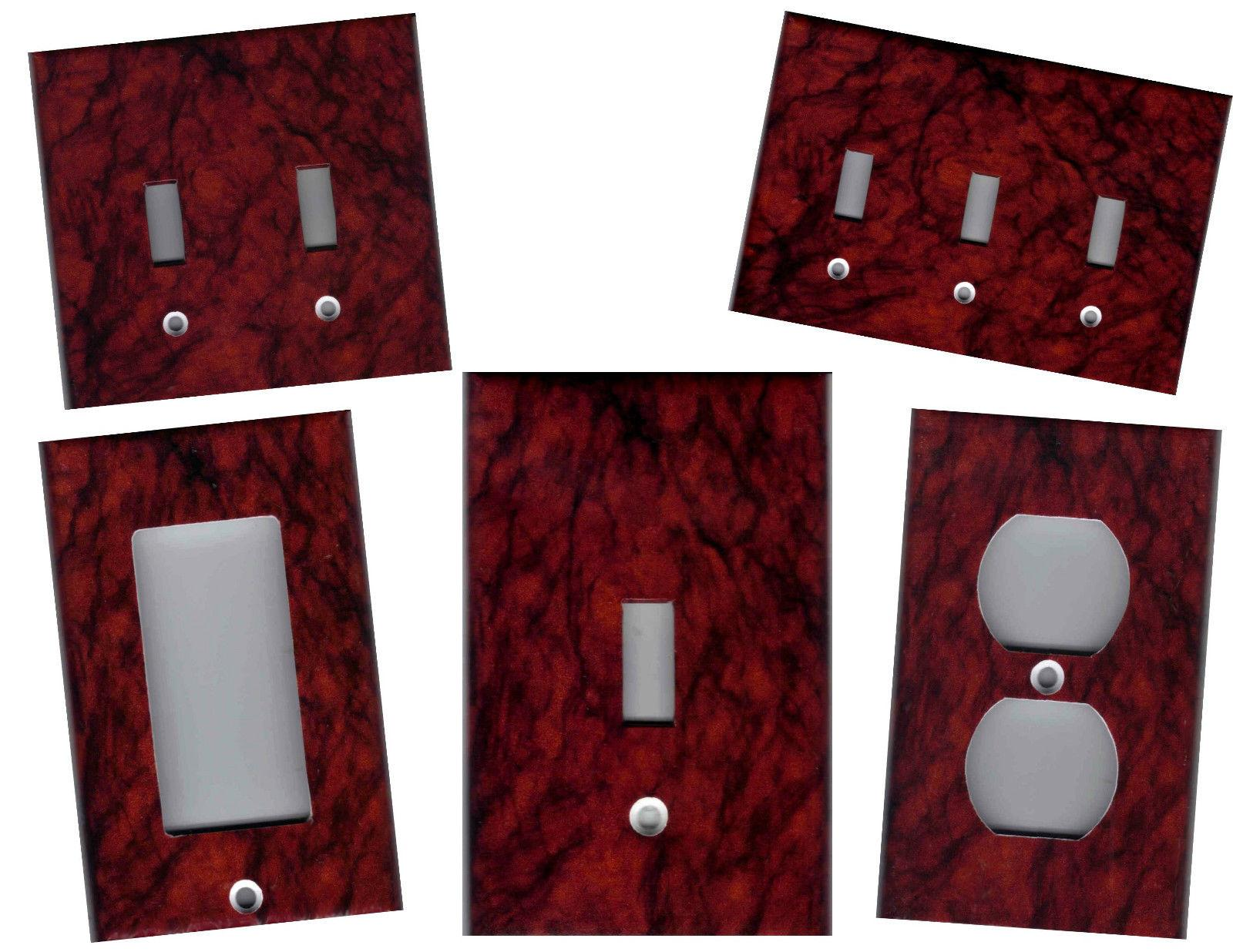 RED BURGUNDY BLACK MARBLE TILE IMAGE HOME DECOR LIGHT SWITCH