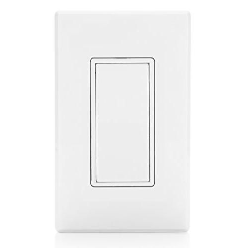 BESTTEN On/Off Wall Light Switch, Wall Plate Included, Residential Commercial Grade, White