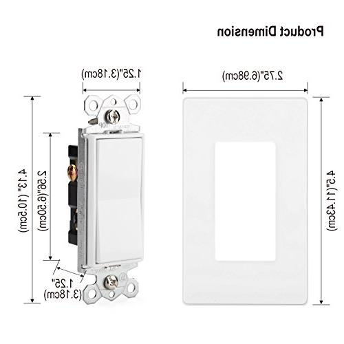 Single-Pole Decorative On/Off Wall Light Switch, Screwless Wall Plate Included, & Grade, Grounding, UL White