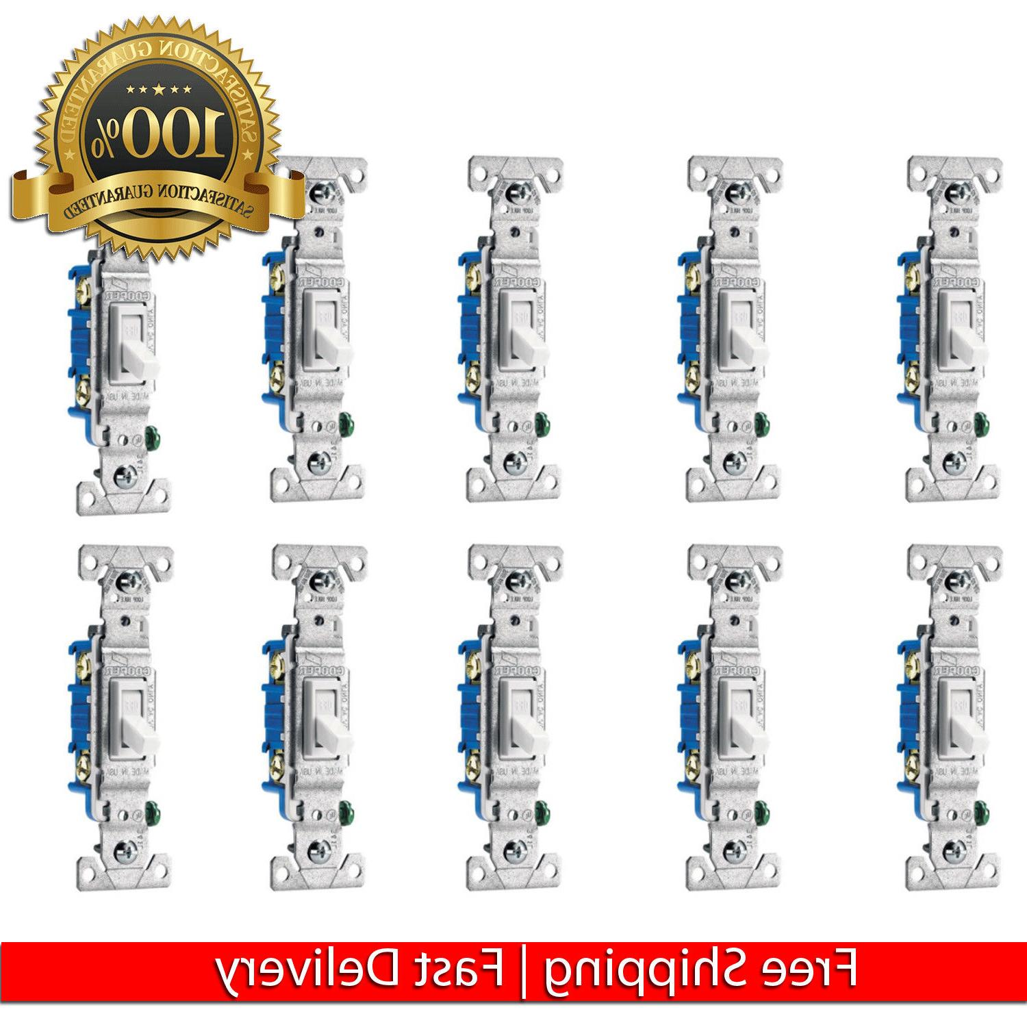 10 PCS 15 AMP SINGLE POLE LIGHT SWITCH INDOOR HOME TOGGLE EL