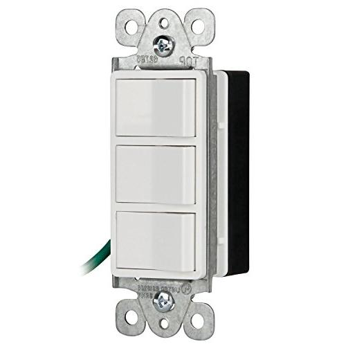 ENERLITES Single Pole Light Switch, 62755-W 3 Switches Fans, Garbage Disposals, Residential UL Listed | 15A, 125/277V -