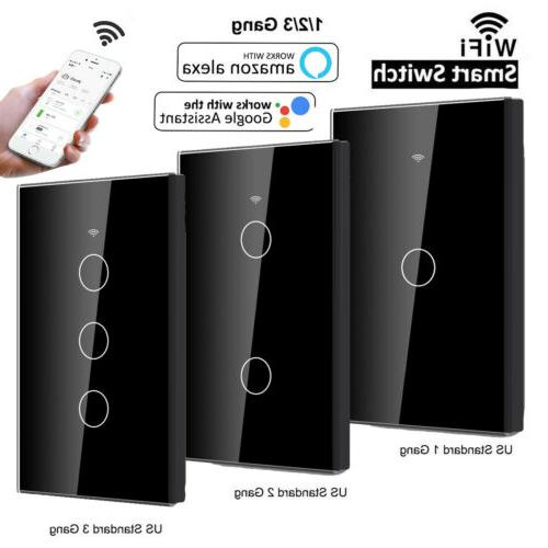 5pcs 1/2/3 Gang Smart WiFi Touch Wall Light Switch US/EU Pan