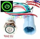 SSF 16mm Green On Off LED 12V Latching Push Button Power Swi