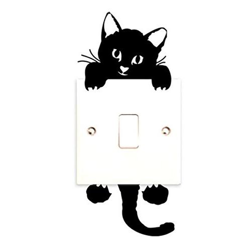 Quartly Sticker Cat Wall Light Switch Decor Decals Mural Baby Room