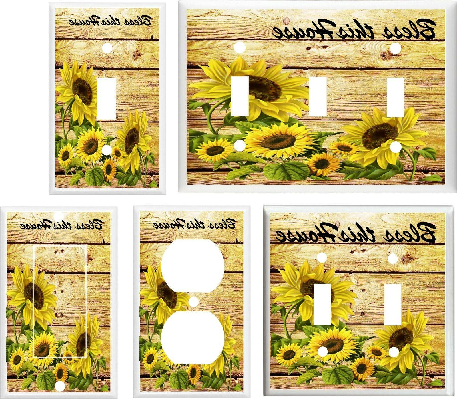 sunflower bless this house light switch cover