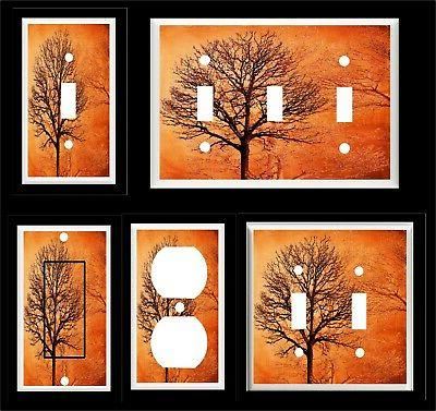 TREES FOREST ORANGE TONES LIGHT SWITCH COVER PLATE  OR OUTLE