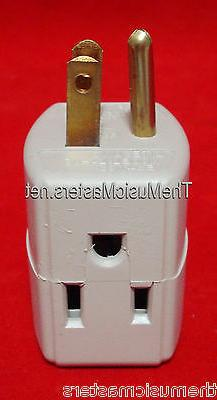 2 PACK TRIPLE OUTLET GROUNDED ELECTRIC WALL 3 WAY TAP POWER