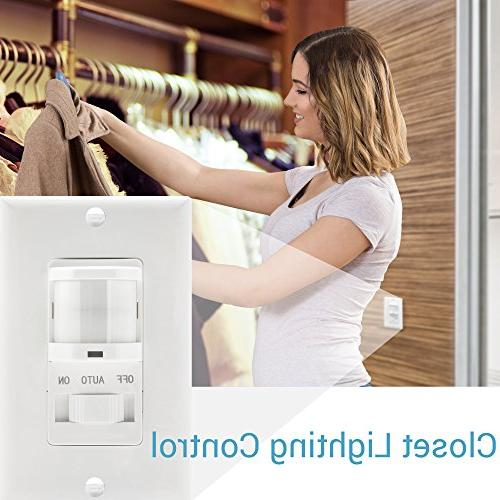 TOPGREENER In-Wall Sensor Switch, Switch, On/Off White, 2