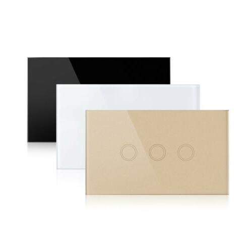 US LED Smart Touch Wall Switch 1 1 3 Gang Crystal Panel