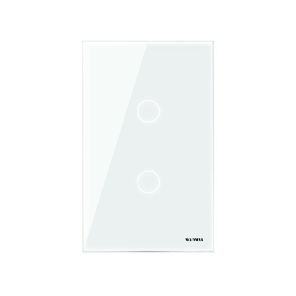 LIVOLO Standard Glass Panel Gang Way Wall Light Switch White